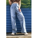 Cool Street Girls' High Rise Full Length Buggy Wild Leg Jeans in Blue