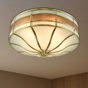 3 Bulbs Drum Ceiling Mount Colonial Brass Mouth-Blown White Opal Glass Flush Light Fixture for Bedroom