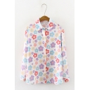 Cute Colorful Floral Pattern Long Sleeve Single Breasted White Oversized Shirt