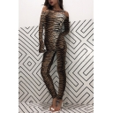 Sexy Brown Slit Sleeve Off The Shoulder Tiger Printed Long Tight Jumpsuit for Women
