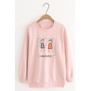 Funny Cartoon Embroidery Printed Long Sleeve Oversized Pullover Sweatshirt