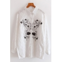 Chic Black Floral Embroidery Long Sleeve Single Breasted Oversized White Shirt