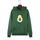 Cute Cartoon Avocado LET'S PUGGING Letter Print Long Sleeve Pullover Hoodie