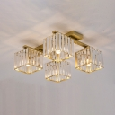 Contemporary Square Flush Mount Light Three Sided Crystal Rod 4/6/9 Heads Living Room Ceiling Lamp in Gold/Black