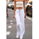 Elegant Fashion Ladies' Mid Waist Zipper Front Relaxed Fit Long Straight Pants in White
