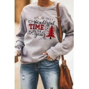 Womens Casual Plaid Patched Letter TIME Christmas Tree Printed Long Sleeve Gray Pullover Sweatshirt