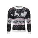 Mens Casual Christmas Santa Elk Pattern Long Sleeve Round Neck Warm Knitted Pullover Sweater