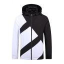 Mens Casual Black and White Geometric Pattern Long Sleeve Zip Up Slim Fitted Track Jacket