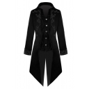 Mens Retro Floral Printed Single Breasted Swallow-Tail Hem Slim Fit Gothic Evening Dress Tuxedo Suit Blazer