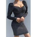 Womens Black Glitter Fashion Sweetheart Neck Ruched Detail Long Sleeve Mini Cocktail Dress