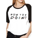 Womens Classic Letter Printed Raglan Short Sleeve White and Black Loose T-Shirt