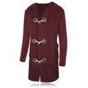 Mens Unique Plain Long Sleeve Button Down Longline Chunky Knit Duffle Coat Cardigan