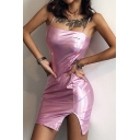 Womens Fashion Plain Metallic Slit Front Nightclub Wear Fitted Mini Strap Dress