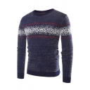 Mens Casual Dot Printed Eyelash Knit Long Sleeve Navy Blue Fitted Pullover Sweater