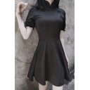 Girls Retro Mandarin Collar Frog Button Lantern Short Sleeves Plain Black Mini A-Line Dress