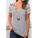 Womens Stylish Flower Panelled Short Sleeve Striped Print White Slim Fit Leisure T-Shirt
