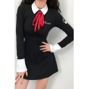 Preppy Classic Letter Print Contrast Lapel Collar Bow Tie Long Sleeve Mini A-Line Dress