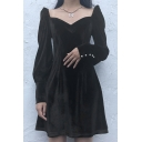 Womens Elegant Chic Plain Black Sweetheart Neck Long Sleeve  Mini Velvet A-Line Dress