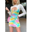 New Fashion Tie Dye Spaghetti Straps Mini Fitted Party Cami Dress for Women