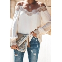 New Stylish Plain Lace Panel Off the Shoulder Spaghetti Straps Long Sleeve Loose Relaxed T-Shirt