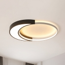 Modern Round Flush Lamp with Black and White Metal Shade Led Ceiling Flush Light in Warm/White, 19.5