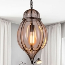 Clear Glass Teardrop Hanging Pendant Light Industrial Style Single Pendant Lighting in Black for Restaurant