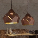 Wrought Iron Dome Hanging Ceiling Lamp Industrial Loft 1 Light Pendant Lamp in Rust for Restaurant