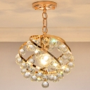 Orbit Chandelier Lamp with Clear Crystal Accent Modernist 1 Light Hanging Light in Gold for Foyer
