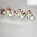 2/3/4 Lights Indoor Vanity Mirror Light Modern Style Golden Wall Sconce with Bowl Clear Crystal Shade, 12.5