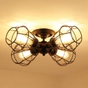 Black Wire Guard Semi Mount Lighting Farmhouse 4 Bulbs Metal Semi Flush Ceiling Light for Indoor