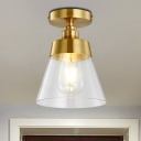 Conic Corridor Ceiling Light Fixture Clear Glass 1 Bulb Industrial Style Semi Flush Mount Light in Brass Finish
