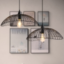 Waveforms Hanging Ceiling Light Industrial Style Metal 1 Light Black Pendant Lighting with Wire Frame, 8