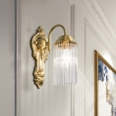 Postmodern Cylinder Wall Light K9 Strip Crystal 2 Lights Hallway Sconce Light with Gold Metal Backplate