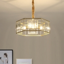 Modern Hexagon Metal Frame Hanging Light Rectangle-Cut Crystal 3 Heads Dining Room Chandelier Lamp in Gold