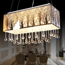 Rectangle Island Lamp Modern Waterdrop Crystal 3 Heads White Hanging Light Fixture