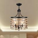 Industrial Round Chandelier Light Metal and Shell 4 Lights Black Suspension Light
