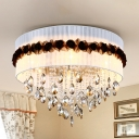 Fabric Circle Flushmount Lighting Vintage 6 Lights Bedroom Flush Ceiling Light with Crystal Bead Decoration in White