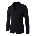 Mens Black Stand Collar Elbow Patch Long Sleeve Double Buttons Ruched Blazer Jacket