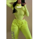 Girls' Cool Trendy Long Sleeve High Neck Shiny Reflective Letter GOOD Printed Neon Color High Cut Bodysuit