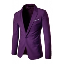 Mens Simple Solid Color Long Sleeve One Button Slim Fitted Business Blazer Jacket