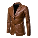 Mens Stylish Plain Notched Lapel Long Sleeve Double Button Faux Leather Fitted Blazer Jacket