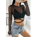 Sexy Street Long Sleeve Crew Neck Grid Hollow Cut Out Fitted Black Crop T-Shirt for Girls