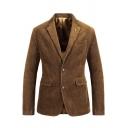 Mens Winter Fashionable Plain Coffee Flap Pocket Double Button Vintage Corduroy Suit