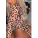 Hot Street Brown Long Sleeve Mock Neck Leopard Print Contrast Piped High Cut Sheer Mesh Fitted Bodysuit for Women