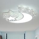 White Stars Moon Flush Light Fixture Modern 18
