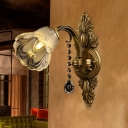 Brass Flower Wall Mount Light Traditional Frosted Glass 1 Head Living Room Sconce Light Fixture