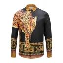 Mens Classic Leopard 3D Print Turndown Collar Long Sleeve Button Up Black and Brown Shirt
