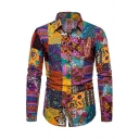 Mens Popular Cartoon Tribal Pattern Long Sleeve Button Up Slim Fit Colorful Shirt