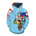 Classic World Map 3D Print Long Sleeve Pouch Pocket Drawstring Hoodie