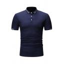 Mens Simple Fashion Stripe Trimmed Lapel Collar Slim Fit Short Sleeve Polo Shirt